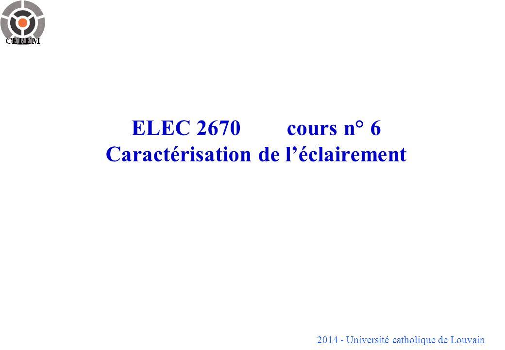 2014 - Université catholique de Louvain ELEC 2670cours n° 6 Caractérisation de léclairement