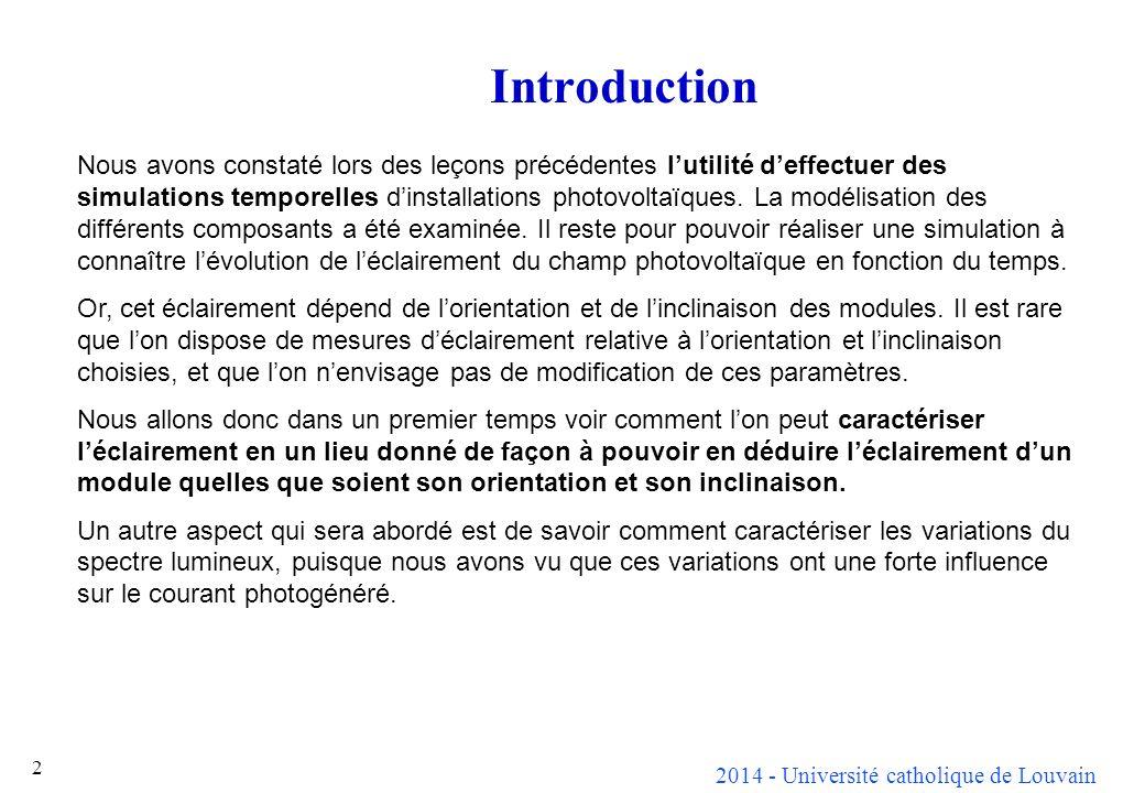 2014 - Université catholique de Louvain 2 Introduction Nous avons constaté lors des leçons précédentes lutilité deffectuer des simulations temporelles dinstallations photovoltaïques.