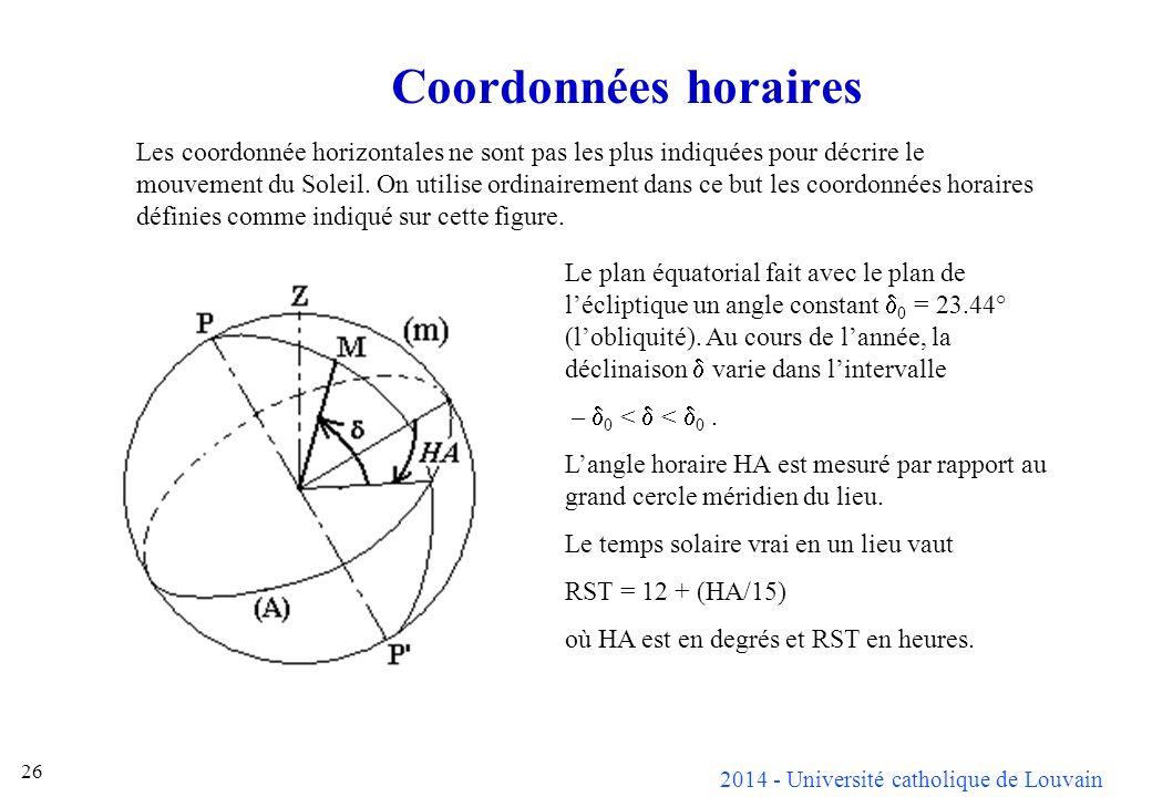 2014 - Université catholique de Louvain 26 Coordonnées horaires Les coordonnée horizontales ne sont pas les plus indiquées pour décrire le mouvement du Soleil.
