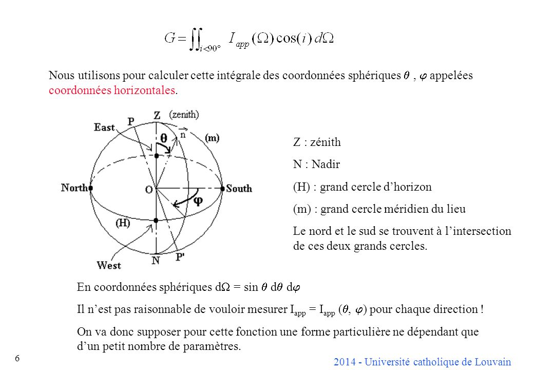 2014 - Université catholique de Louvain 6 En coordonnées sphériques d = sin d d Il nest pas raisonnable de vouloir mesurer I app = I app (, ) pour chaque direction .