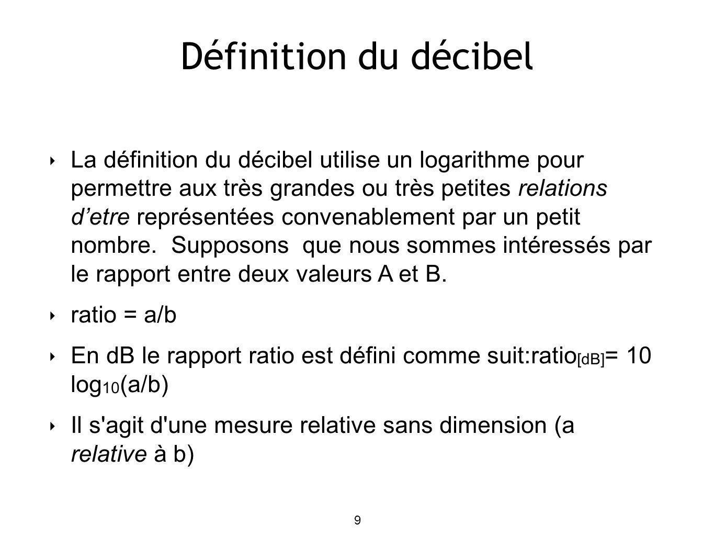 Définition du décibel 9 La définition du décibel utilise un logarithme pour permettre aux très grandes ou très petites relations detre représentées convenablement par un petit nombre.
