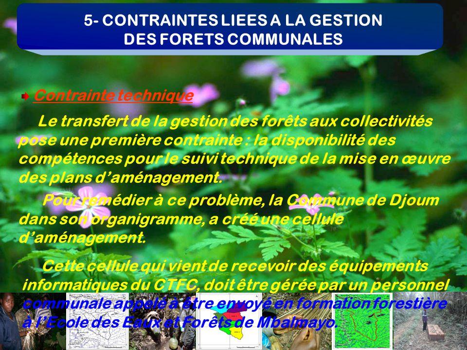 5- CONTRAINTES LIEES A LA GESTION DES FORETS COMMUNALES Le transfert de la gestion des forêts aux collectivités pose une première contrainte : la disp