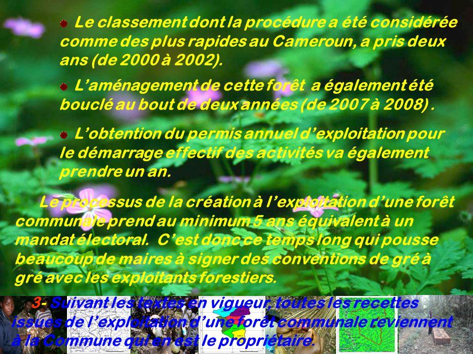 3- Suivant les textes en vigueur, toutes les recettes issues de lexploitation dune forêt communale reviennent à la Commune qui en est le propriétaire.