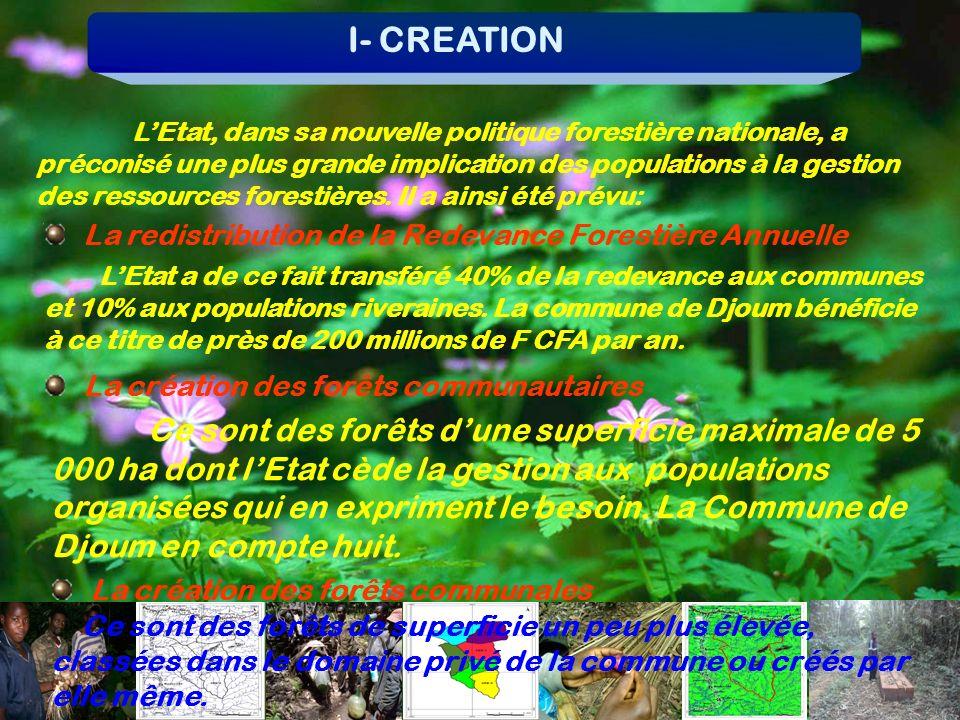 I- CREATION LEtat, dans sa nouvelle politique forestière nationale, a préconisé une plus grande implication des populations à la gestion des ressource
