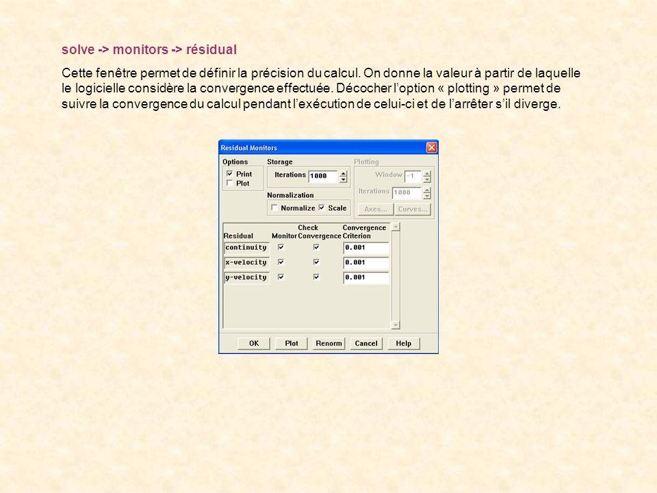 solve -> monitors -> résidual Cette fenêtre permet de définir la précision du calcul. On donne la valeur à partir de laquelle le logicielle considère