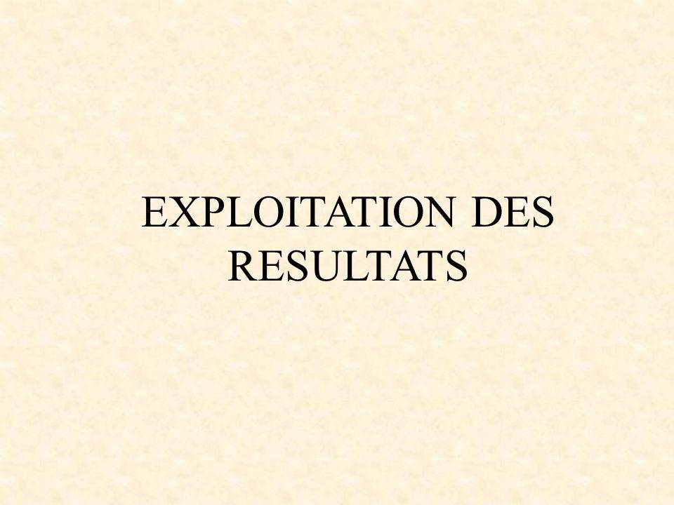 EXPLOITATION DES RESULTATS