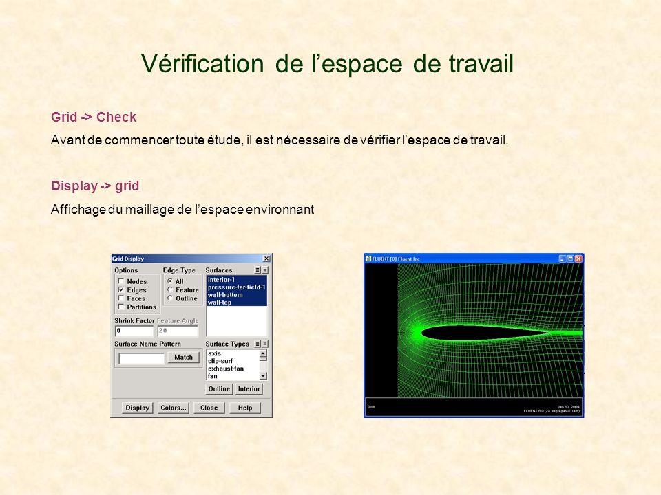 Vérification de lespace de travail Grid -> Check Avant de commencer toute étude, il est nécessaire de vérifier lespace de travail. Display -> grid Aff