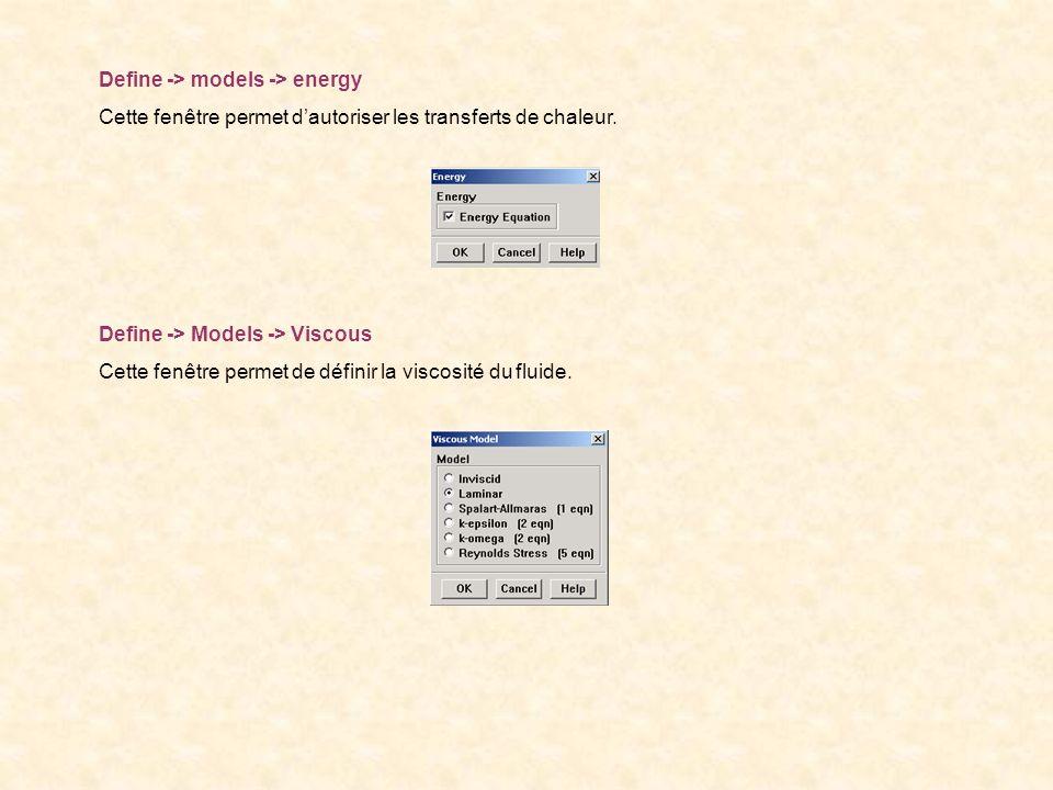 Define -> models -> energy Cette fenêtre permet dautoriser les transferts de chaleur. Define -> Models -> Viscous Cette fenêtre permet de définir la v
