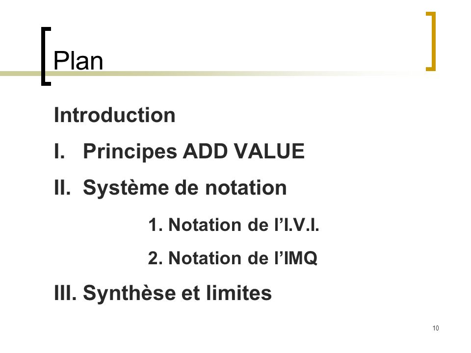 10 Plan Introduction I. Principes ADD VALUE II. Système de notation 1. Notation de lI.V.I. 2. Notation de lIMQ III. Synthèse et limites