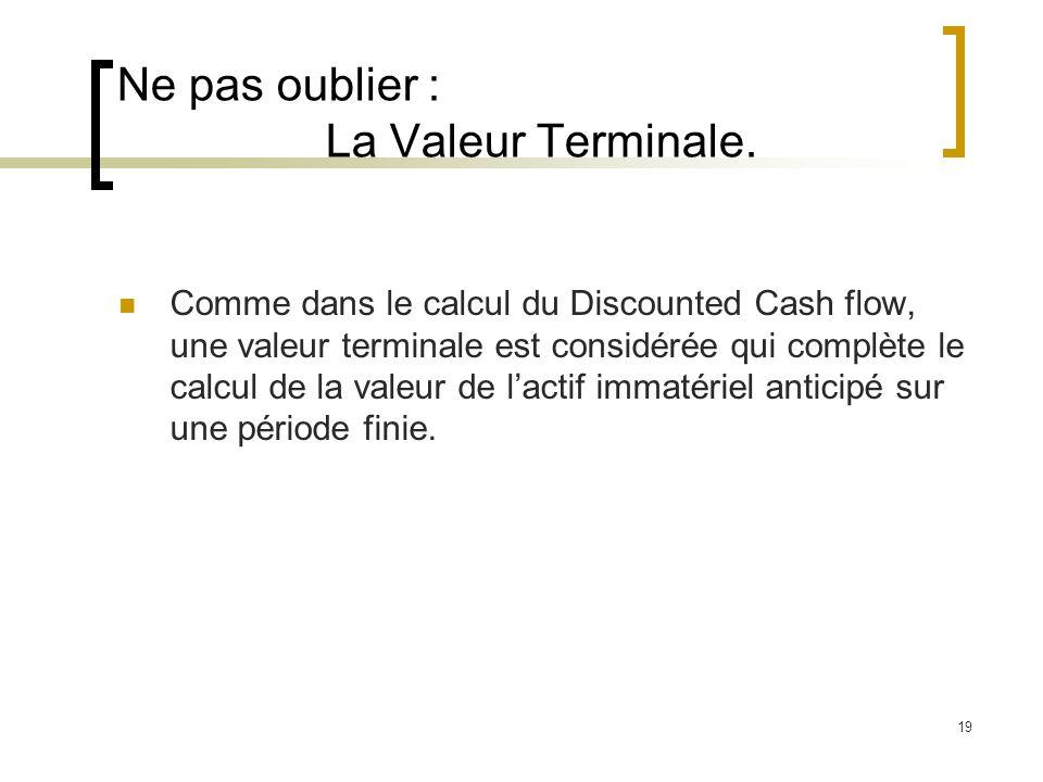 19 Ne pas oublier : La Valeur Terminale. Comme dans le calcul du Discounted Cash flow, une valeur terminale est considérée qui complète le calcul de l