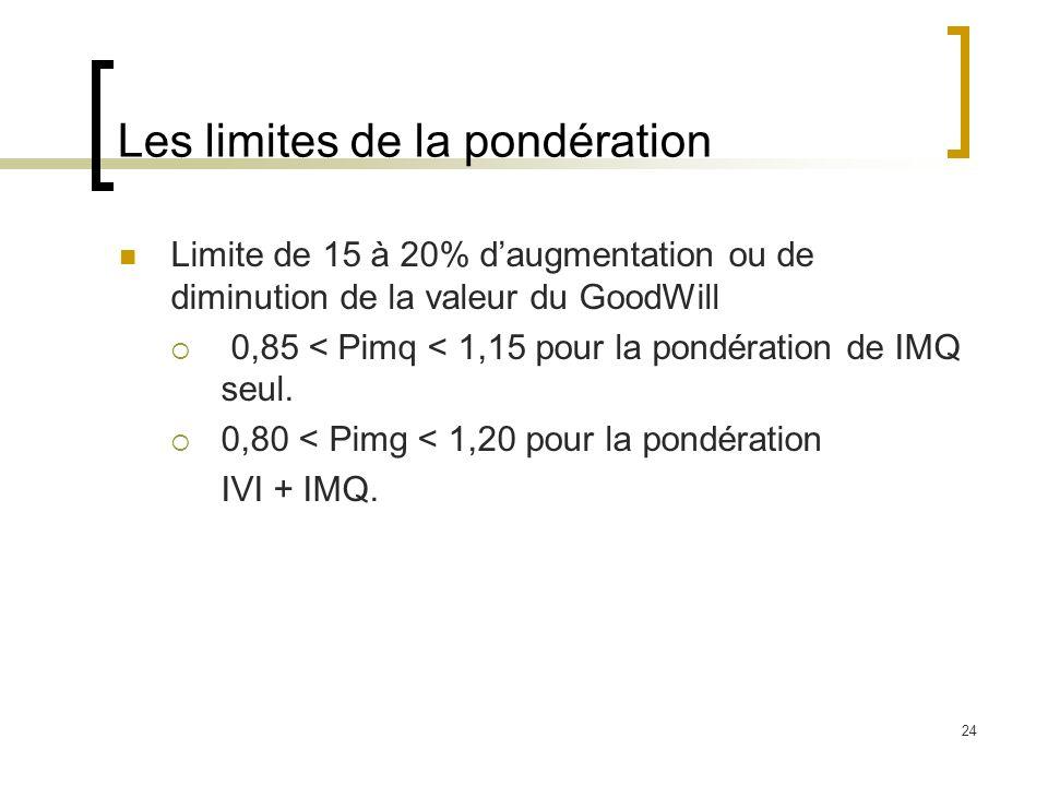 24 Les limites de la pondération Limite de 15 à 20% daugmentation ou de diminution de la valeur du GoodWill 0,85 < Pimq < 1,15 pour la pondération de
