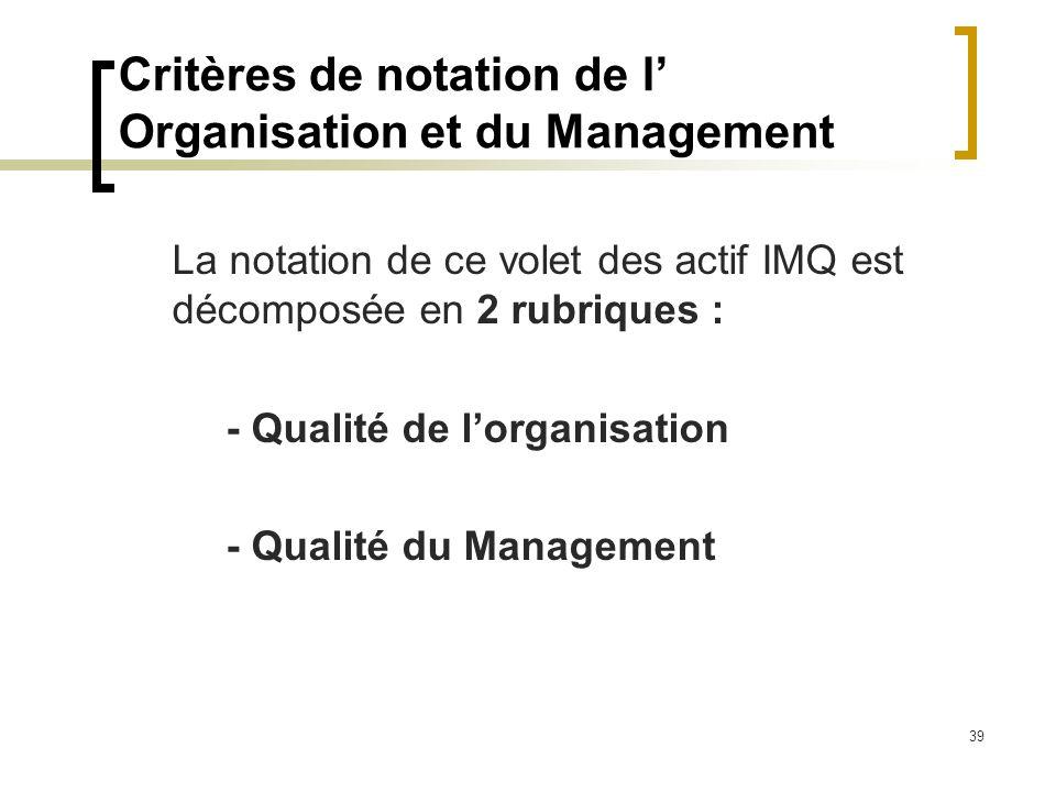 39 Critères de notation de l Organisation et du Management La notation de ce volet des actif IMQ est décomposée en 2 rubriques : - Qualité de lorganis