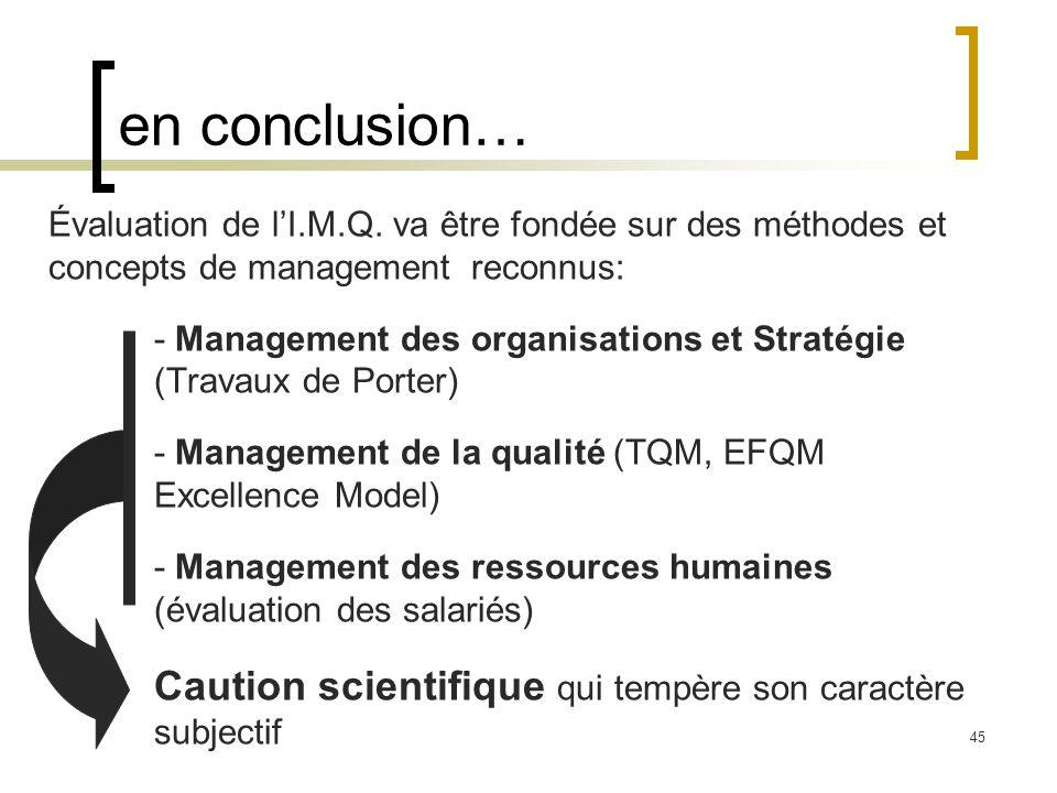 45 en conclusion… Évaluation de lI.M.Q. va être fondée sur des méthodes et concepts de management reconnus: - Management des organisations et Stratégi
