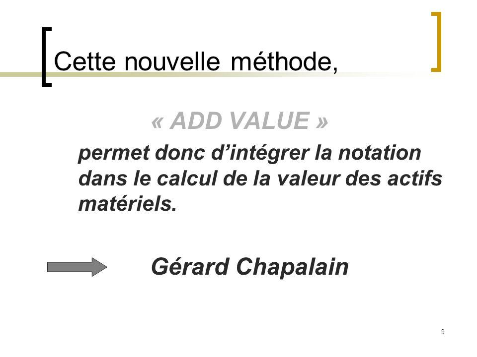 9 Cette nouvelle méthode, « ADD VALUE » permet donc dintégrer la notation dans le calcul de la valeur des actifs matériels. Gérard Chapalain
