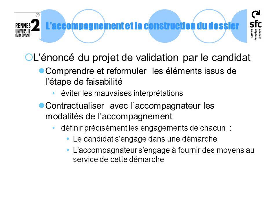 L'énoncé du projet de validation par le candidat Comprendre et reformuler les éléments issus de létape de faisabilité éviter les mauvaises interprétat