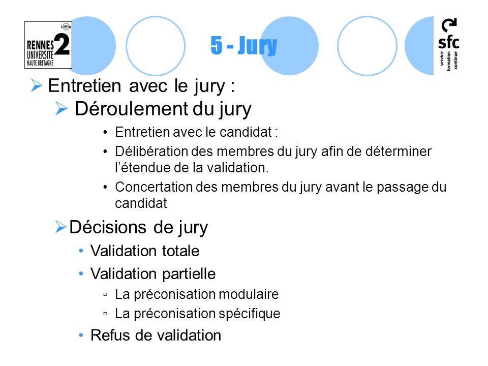 Entretien avec le jury : Déroulement du jury Entretien avec le candidat : Délibération des membres du jury afin de déterminer létendue de la validatio