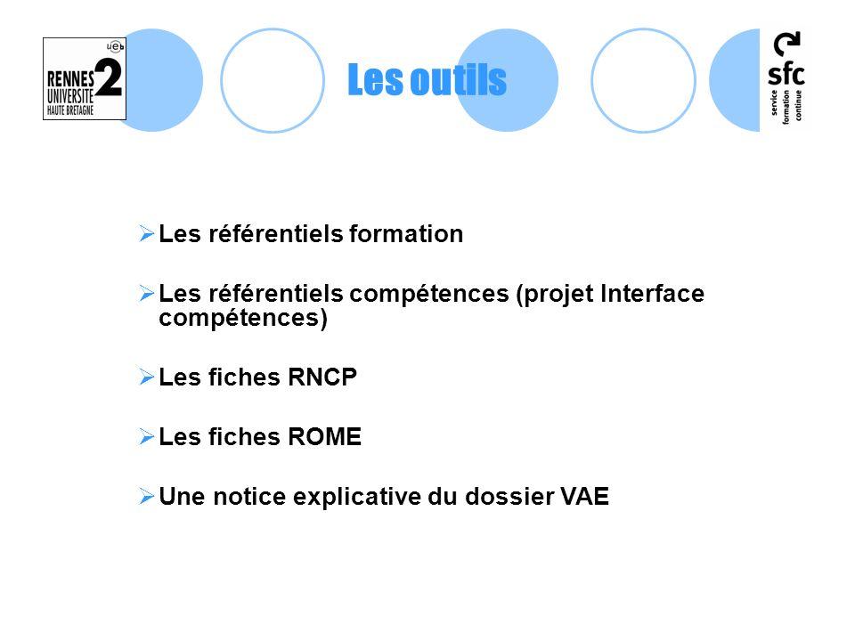 Les référentiels formation Les référentiels compétences (projet Interface compétences) Les fiches RNCP Les fiches ROME Une notice explicative du dossi