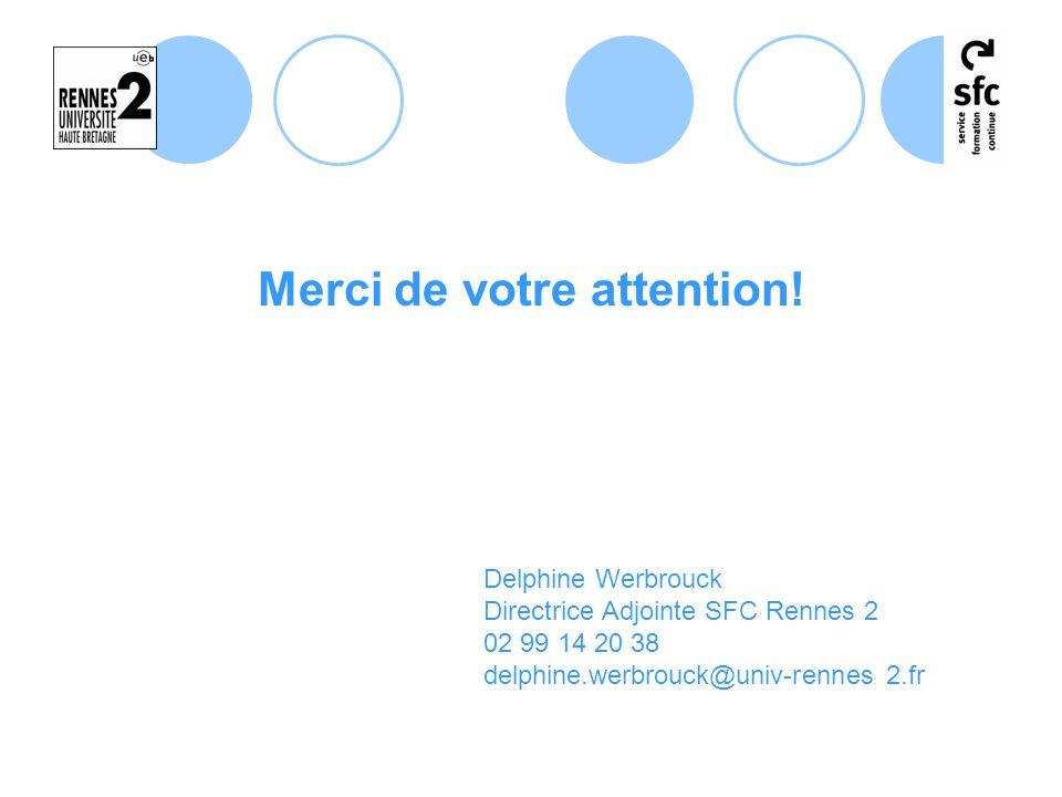 Merci de votre attention! Delphine Werbrouck Directrice Adjointe SFC Rennes 2 02 99 14 20 38 delphine.werbrouck@univ-rennes 2.fr