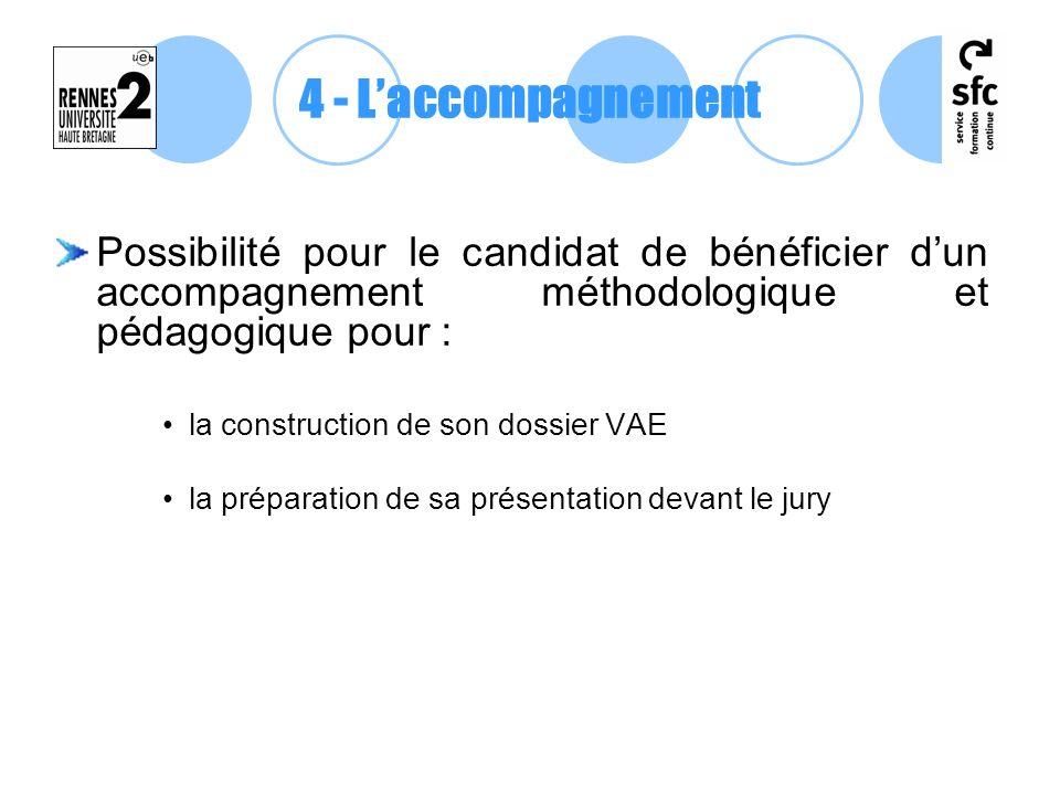 Possibilité pour le candidat de bénéficier dun accompagnement méthodologique et pédagogique pour : la construction de son dossier VAE la préparation d
