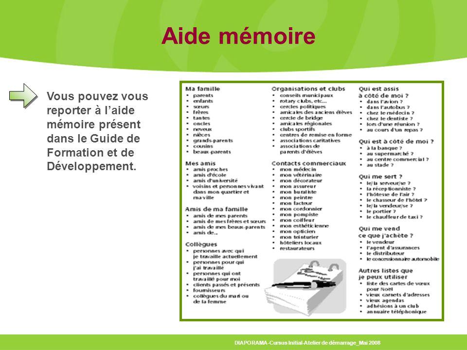 DIAPORAMA-Cursus Initial-Atelier de démarrage_Mai 2008 Aide mémoire Vous pouvez vous reporter à laide mémoire présent dans le Guide de Formation et de Développement.