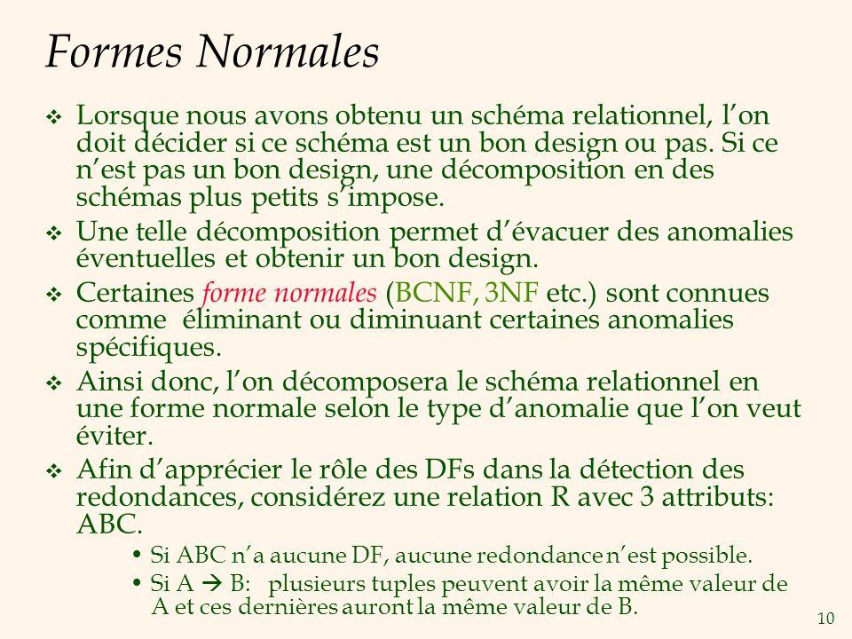 10 Formes Normales Lorsque nous avons obtenu un schéma relationnel, lon doit décider si ce schéma est un bon design ou pas. Si ce nest pas un bon desi