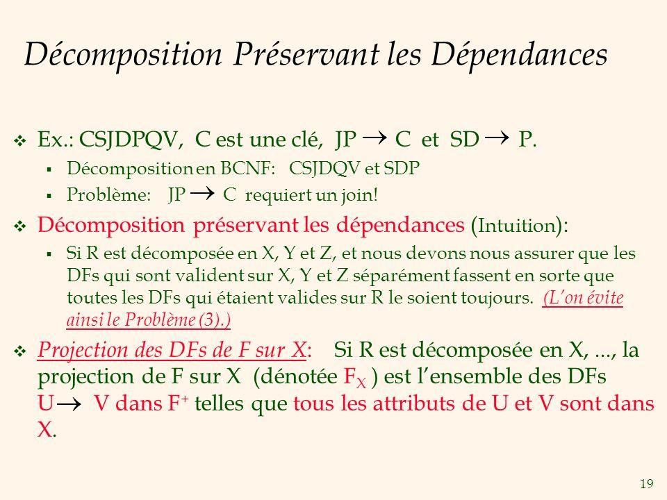 19 Décomposition Préservant les Dépendances Ex.: CSJDPQV, C est une clé, JP C et SD P. Décomposition en BCNF: CSJDQV et SDP Problème: JP C requiert un
