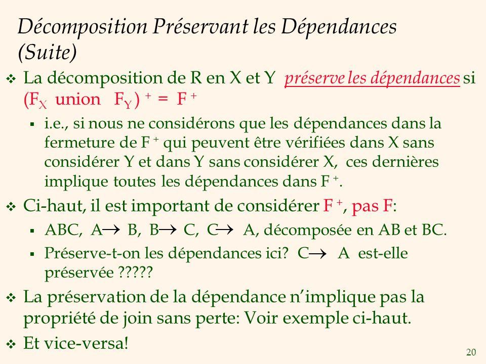 20 Décomposition Préservant les Dépendances (Suite) La décomposition de R en X et Y préserve les dépendances si (F X union F Y ) + = F + i.e., si nous