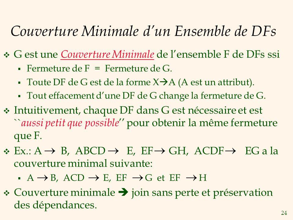 24 Couverture Minimale dun Ensemble de DFs G est une Couverture Minimale de lensemble F de DFs ssi Fermeture de F = Fermeture de G. Toute DF de G est