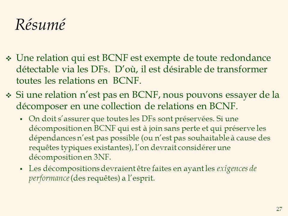 27 Résumé Une relation qui est BCNF est exempte de toute redondance détectable via les DFs. Doù, il est désirable de transformer toutes les relations