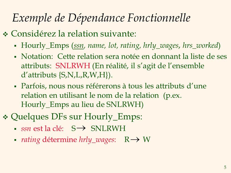 5 Exemple de Dépendance Fonctionnelle Considérez la relation suivante: Hourly_Emps ( ssn, name, lot, rating, hrly_wages, hrs_worked ) Notation: Cette