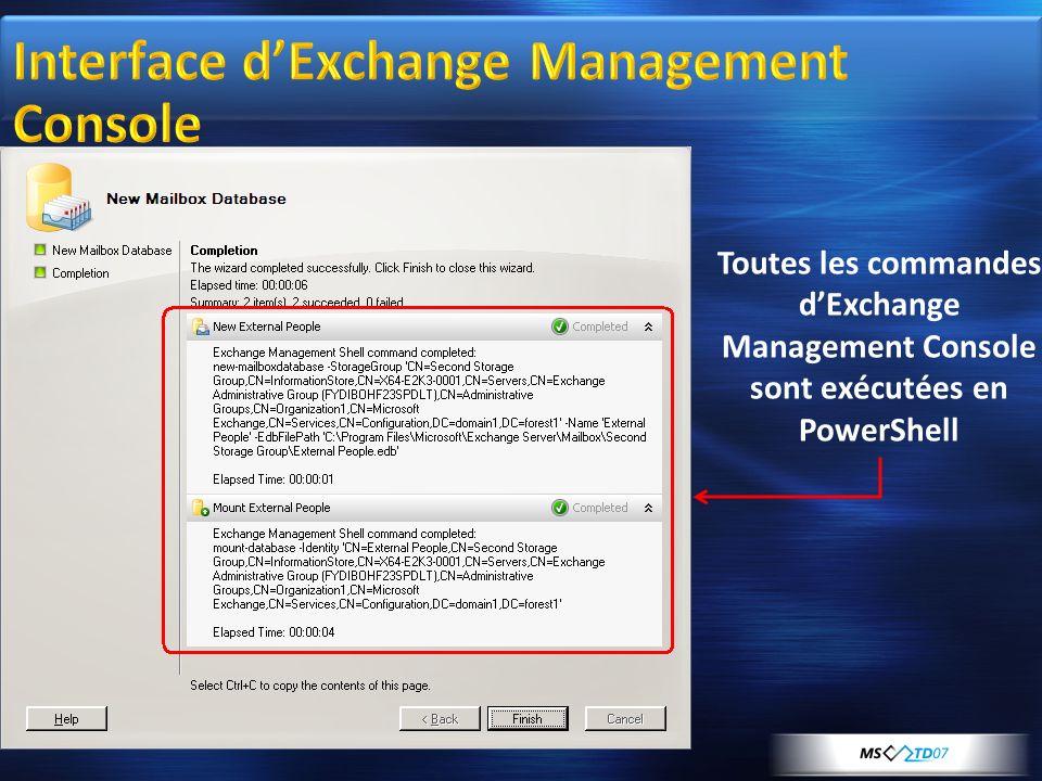 Toutes les commandes dExchange Management Console sont exécutées en PowerShell