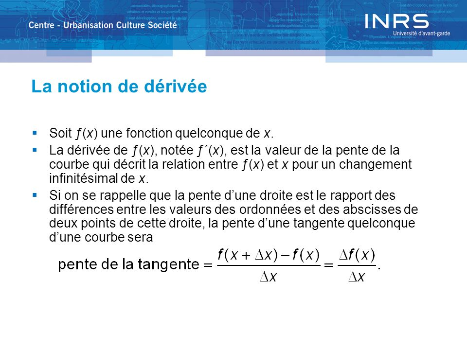 La notion de dérivée La dérivée de ƒ(x) sera la fonction des valeurs des pentes de la suite de tangentes que lon obtient en considérant toutes les paires de points de la courbe séparés par une distance infinitésimale.