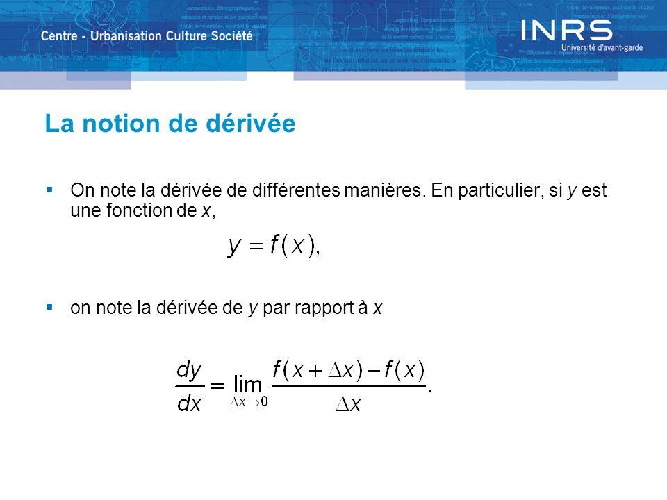 La notion de dérivée Si y est une fonction de plusieurs variables dont x, on note la dérivée partielle de y par rapport à x Comme la dérivée dune fonction continue est elle-même une fonction continue, elle a elle-même une dérivée.