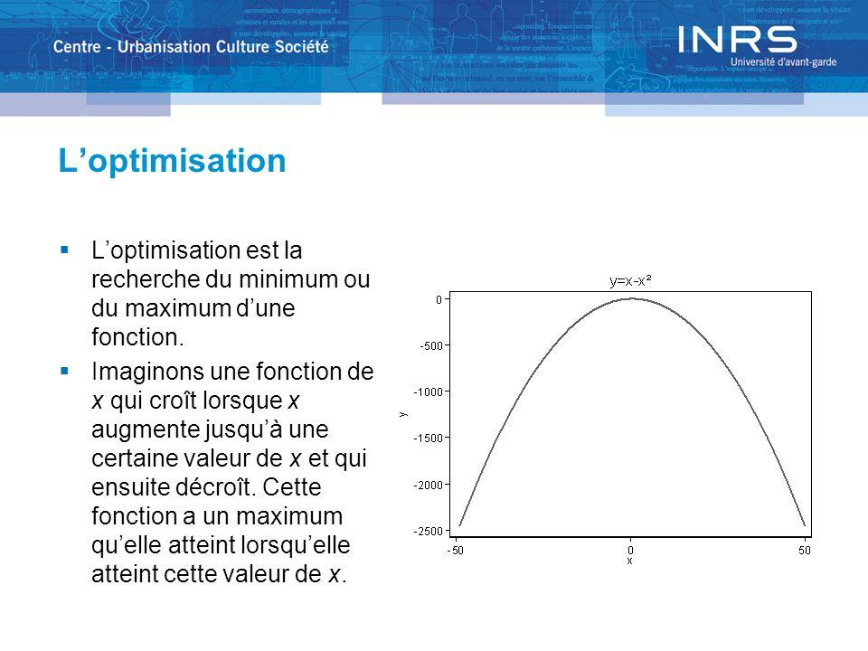 Loptimisation Nous avons défini la dérivée dune fonction comme la suite des valeurs de la pente de la courbe décrite par cette fonction.