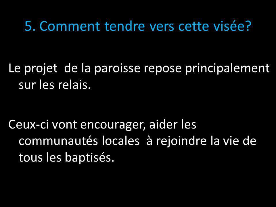 5.Comment tendre vers cette visée. Le projet de la paroisse repose principalement sur les relais.