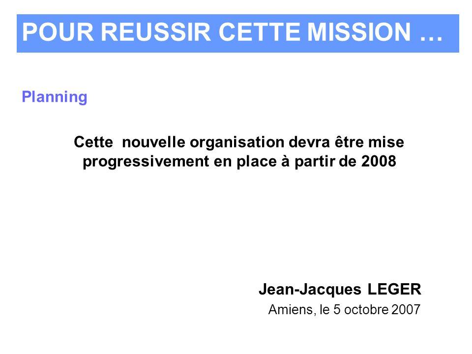 Planning Cette nouvelle organisation devra être mise progressivement en place à partir de 2008 POUR REUSSIR CETTE MISSION … Jean-Jacques LEGER Amiens,