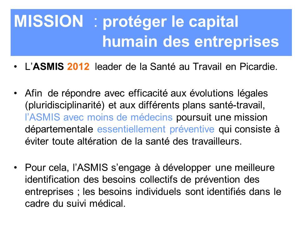 MISSION : protéger le capital humain des entreprises LASMIS 2012 leader de la Santé au Travail en Picardie. Afin de répondre avec efficacité aux évolu