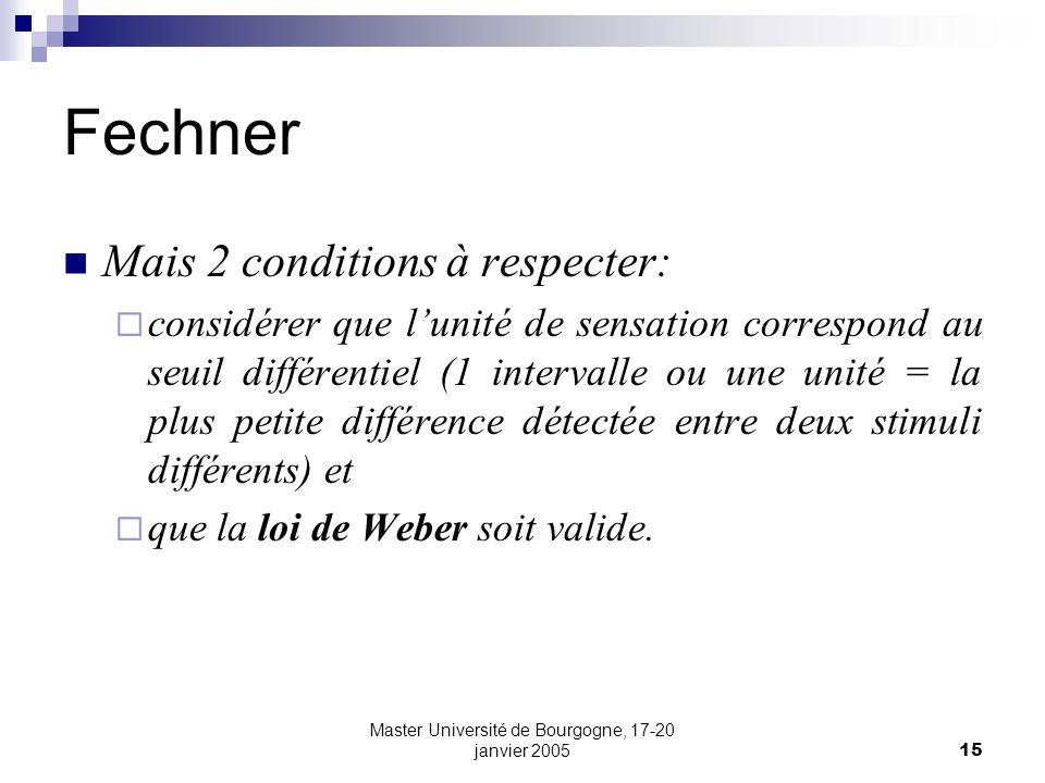 Master Université de Bourgogne, 17-20 janvier 200515 Fechner Mais 2 conditions à respecter: considérer que lunité de sensation correspond au seuil dif