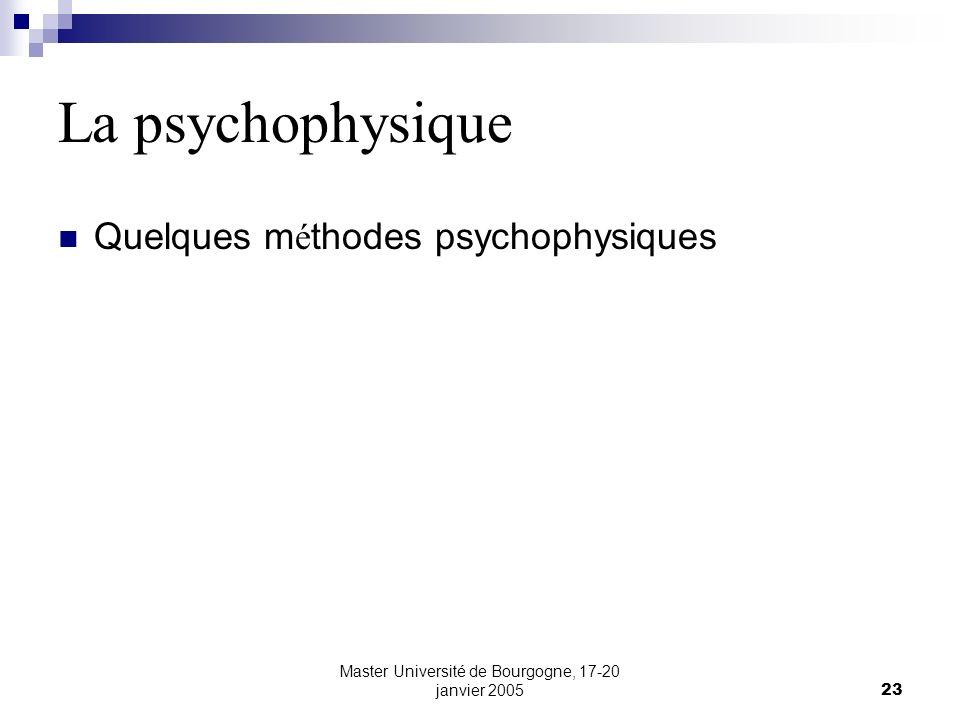 Master Université de Bourgogne, 17-20 janvier 200523 La psychophysique Quelques m é thodes psychophysiques