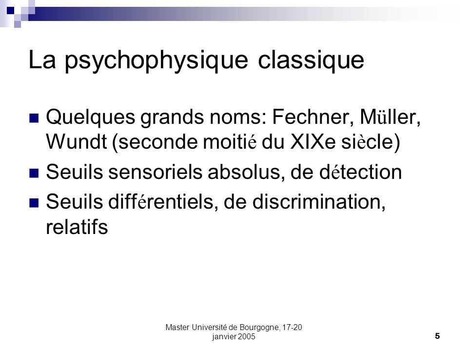Master Université de Bourgogne, 17-20 janvier 20055 La psychophysique classique Quelques grands noms: Fechner, M ü ller, Wundt (seconde moiti é du XIX