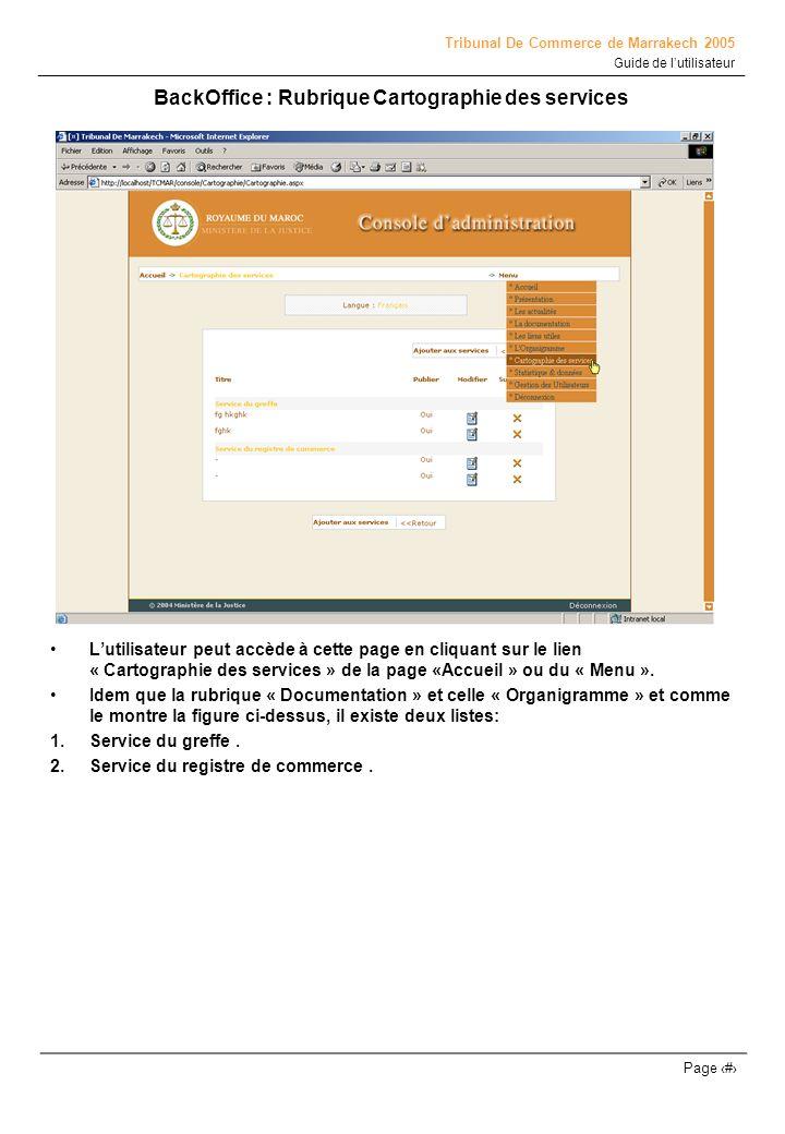 Tribunal De Commerce de Marrakech 2005 Guide de lutilisateur Page # BackOffice : Rubrique Cartographie des services Lutilisateur peut accède à cette p