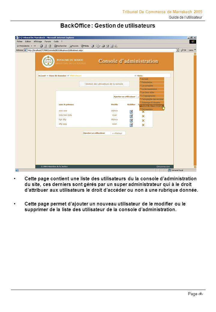 Tribunal De Commerce de Marrakech 2005 Guide de lutilisateur Page # BackOffice : Gestion de utilisateurs Cette page contient une liste des utilisateur