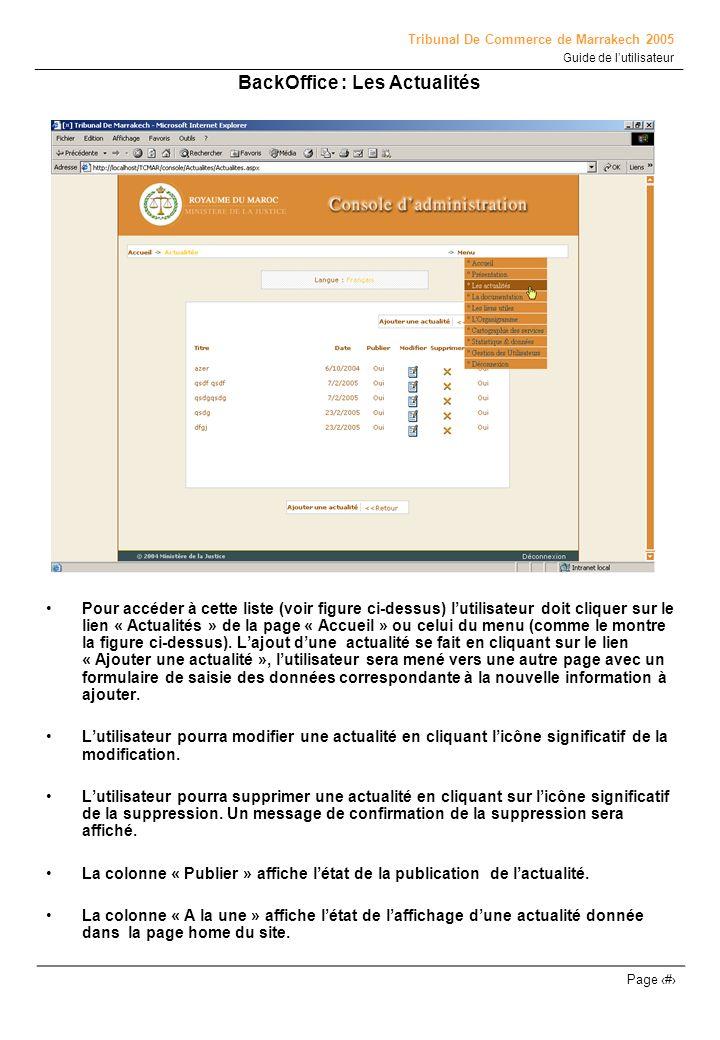 Tribunal De Commerce de Marrakech 2005 Guide de lutilisateur Page # BackOffice : Gestion de utilisateurs Cette page contient une liste des utilisateurs du la console dadministration du site, ces derniers sont gérés par un super administrateur qui à le droit dattribuer aux utilisateurs le droit daccéder ou non à une rubrique donnée.