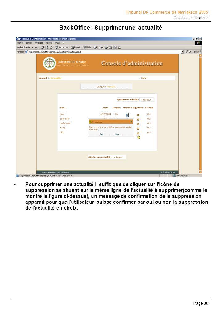 Tribunal De Commerce de Marrakech 2005 Guide de lutilisateur Page # BackOffice : Supprimer une actualité Pour supprimer une actualité il suffit que de