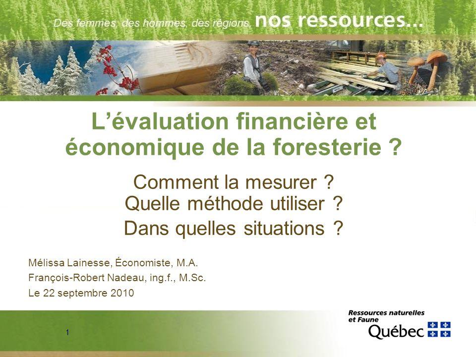 1 Lévaluation financière et économique de la foresterie ? Comment la mesurer ? Quelle méthode utiliser ? Dans quelles situations ? Mélissa Lainesse, É