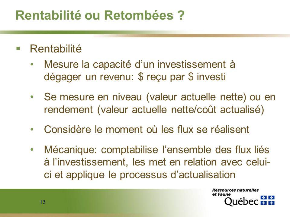 13 Rentabilité ou Retombées ? Rentabilité Mesure la capacité dun investissement à dégager un revenu: $ reçu par $ investi Se mesure en niveau (valeur