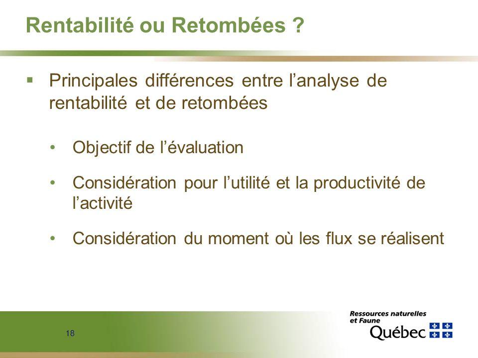 18 Rentabilité ou Retombées ? Principales différences entre lanalyse de rentabilité et de retombées Objectif de lévaluation Considération pour lutilit