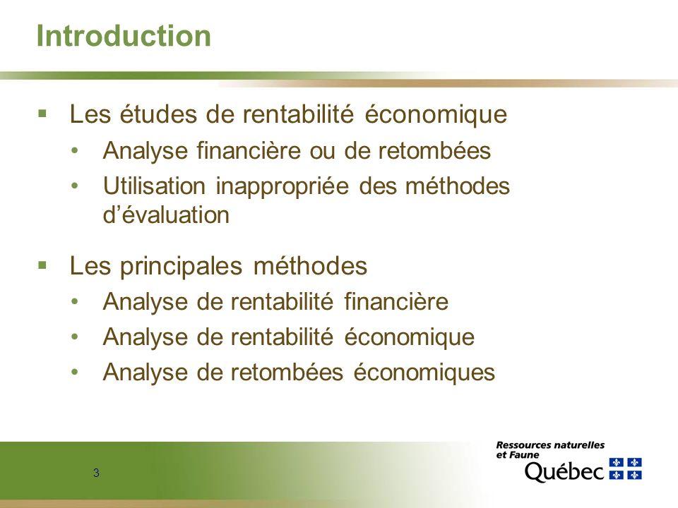 3 Introduction Les études de rentabilité économique Analyse financière ou de retombées Utilisation inappropriée des méthodes dévaluation Les principal