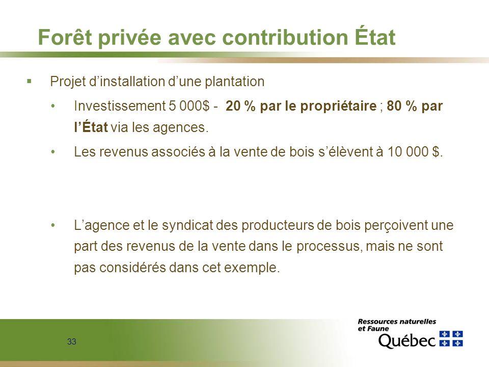 33 Forêt privée avec contribution État Projet dinstallation dune plantation Investissement 5 000$ - 20 % par le propriétaire ; 80 % par lÉtat via les