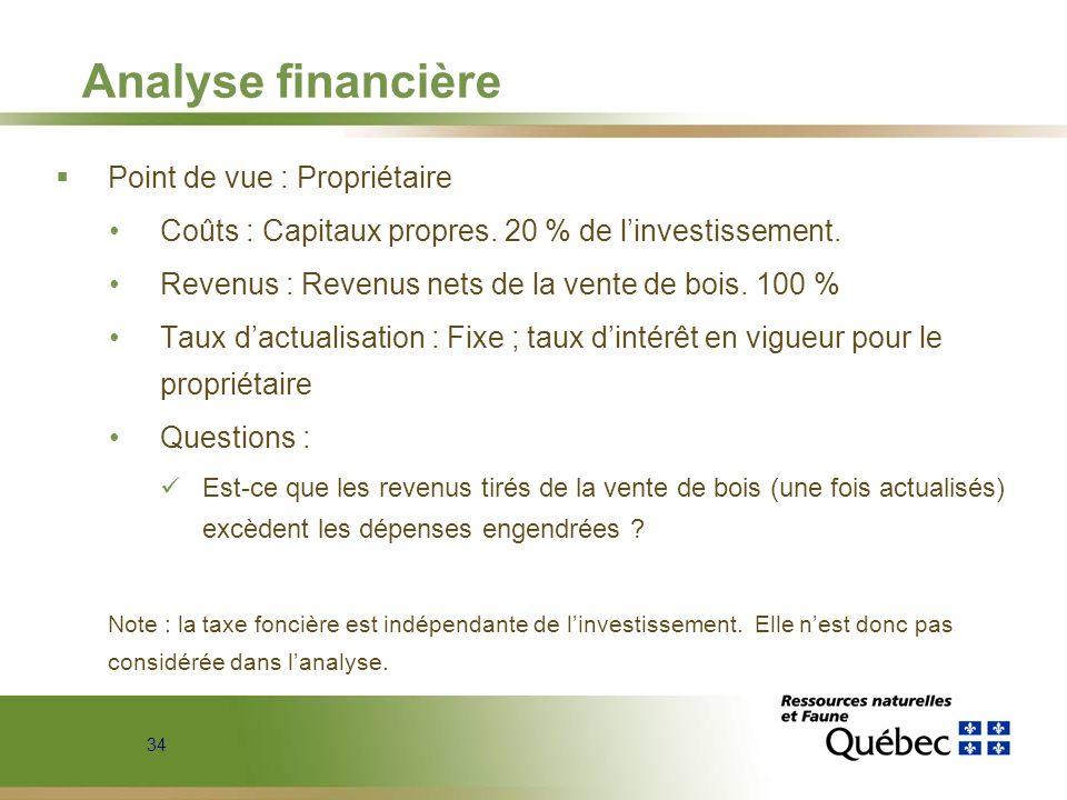 34 Analyse financière Point de vue : Propriétaire Coûts : Capitaux propres. 20 % de linvestissement. Revenus : Revenus nets de la vente de bois. 100 %